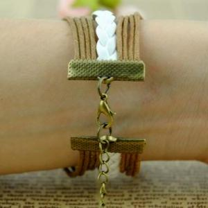 Handmade braided leather bracelet w..