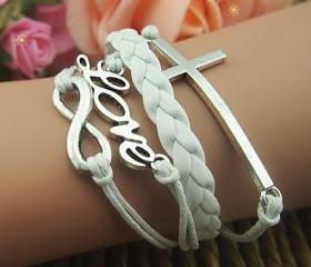 Pure White Unique Silver Hand Chain Charm Bracelet Love Chain Infinity Bracelet Gift Bracelet Romantic Girl's Gift Braid Leather Free Gift