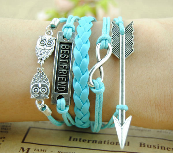 Bracelet-Arrow bracelet,infinity bracelet,Double owl bracelet,Best Friend bracelet,charm bracelet,friendship gift friend birthday gift