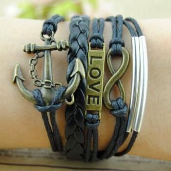 Antiques bronze and Black Braid leather made of cuff bracelet,Anchor Bracelet,Infinity Bracelet,Infinity Bracelet,Wax Cords Charm bracelet