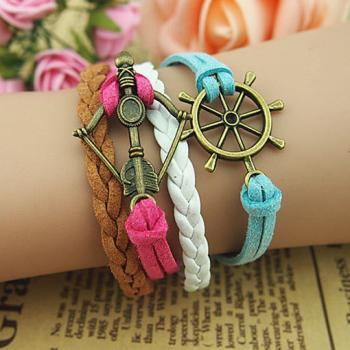 Helm & Cupid's Arrow bracelet-helm bracelet-arrow bracelet,love bracelet-charm bracelet-girlfriend boy friend gift Infinity Wish Bracelet